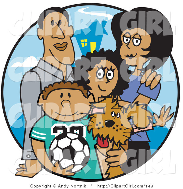 Clip Art of Two Hispanic Parents Standing with Their Son, Daughter and the Family Dog