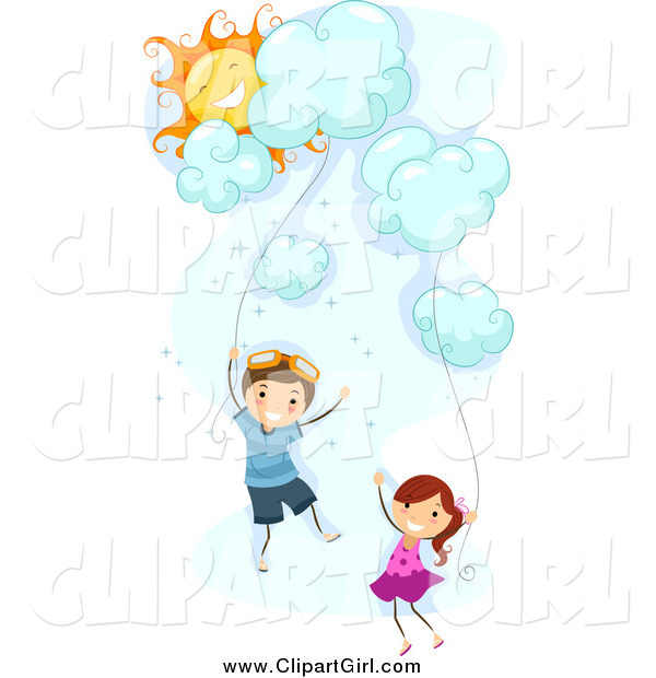 Clip Art of White Stick Kids Floating with Cloud Kites