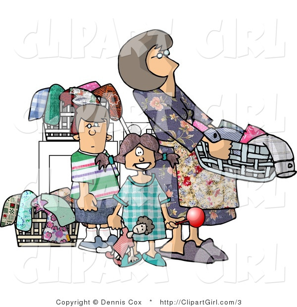 Royalty Free Clip Art of a Housewife Doing Laundry with Her Kids