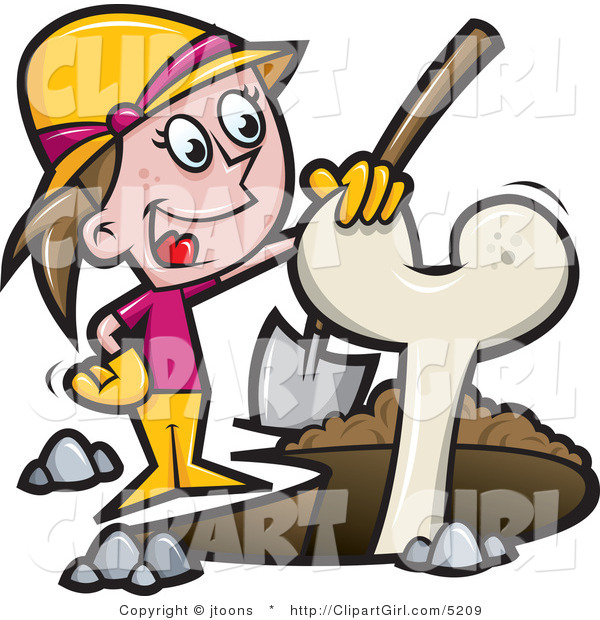 Vector Clip Art of an Archaeologist Girl Digging up a Bone - Royalty Free