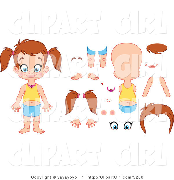 Vector Clip Art of an Assembly Girl with Multiple Design Elements - Royalty Free