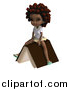 Clip Art of a 3d Black School Girl Sitting on a Book by Ralf61
