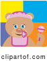 Clip Art of a Baby Girl Teddy Bear Character with Rattle by Dennis Holmes Designs