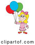 Clip Art of a Blond Birthday Girl with Balloons by Visekart