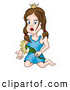 Clip Art of a Brunette Princess Kneeling with a Flower by Dero