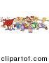 Clip Art of a Cartoon Cow with Eight Milking Maids Christmas Scene by Toonaday