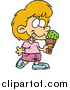 Clip Art of a Cartoon White Girl with Ice Cream by Toonaday