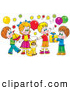 Clip Art of a Cat Surrounded by Children and Balloons at a Colorful Birthday Party by Alex Bannykh