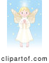 Clip Art of a Cheerful Innocent Blond Femal Angel with a Halo, Holding Her Hands Together by Pushkin