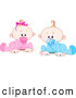 Clip Art of a Couple of Babies - Twin Baby Boy and Girl with Pacifiers, Trying to Crawl by Pushkin
