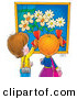 Clip Art of a Curious Little Boy and Girl Admiring a Painting of Flowers in a Museum or Art Gallery by Alex Bannykh