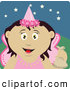 Clip Art of a Cute and Friendly Tooth Fairy in a Pink Costume, Holding up a Bag by Dennis Holmes Designs