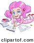 Clip Art of a Cute and Smiling Pink Haired, Blue Eyed School Girl in Pink Clothes, Laying on Her Belly and Doing Homework for School by Tonis Pan