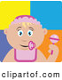 Clip Art of a Cute Caucasian Baby Girl with a Pacifier, Bib and Rattle by Dennis Holmes Designs