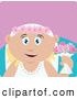 Clip Art of a Cute Caucasian Bride Woman Holding Flowers by Dennis Holmes Designs