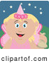 Clip Art of a Cute Caucasian Girl Trick or Treating on Halloween in a Fairy Princess Costume by Dennis Holmes Designs