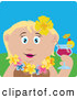 Clip Art of a Cute Caucasian Woman in a Hawaiian Lei, Drinking a Cocktail on Vacation by Dennis Holmes Designs