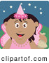 Clip Art of a Cute Hispanic Girl Trick or Treating on Halloween in a Fairy Princess Costume by Dennis Holmes Designs