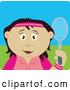 Clip Art of a Cute Latin American Girl Holding a Tennis Racket by Dennis Holmes Designs