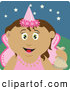 Clip Art of a Cute Latin American Girl Trick or Treating on Halloween in a Fairy Princess Costume by Dennis Holmes Designs
