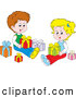 Clip Art of a Cute Little Boy and Girl, Brother and Sister, Sitting on the Floor and Opening Christmas Presents by Alex Bannykh