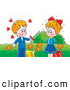 Clip Art of a Cute Little Smiling Boy Giving Candy to a Girl He Has a Crush on by Alex Bannykh