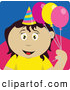 Clip Art of a Cute Mexican Birthday Girl Holding Balloons by Dennis Holmes Designs