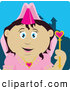 Clip Art of a Cute Pretty Mexican Princess Girl Holding a Wand by Dennis Holmes Designs