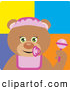 Clip Art of a Cute Teddy Bear Baby Girl Character by Dennis Holmes Designs