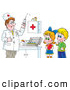 Clip Art of a Doctor Preparing a Syringe for Shots While a Boy and Girl Watch, on White by Alex Bannykh