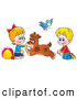 Clip Art of a Dog Running Back and Forth Between a Smiling Brother and Sister by Alex Bannykh