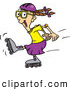 Clip Art of a Excited Energetic Girl Roller Blading by Dennis Holmes Designs