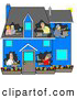 Clip Art of a Family in a Blue House by Djart