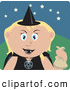 Clip Art of a Friendly Caucasian Girl Trick or Treating on Halloween in a Witch Costume by Dennis Holmes Designs