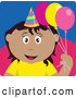 Clip Art of a Friendly Hispanic Birthday Girl Holding Balloons by Dennis Holmes Designs