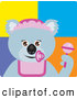 Clip Art of a Friendly Koala Bear Baby Girl Character with Pacifier and Rattle by Dennis Holmes Designs