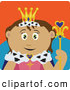 Clip Art of a Friendly Royal Hispanic Queen Holding a Staff by Dennis Holmes Designs