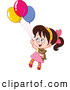 Clip Art of a Girl Floating with Her Teddy Bear and Balloons by Yayayoyo