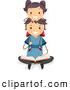 Clip Art of a Girl Sitting on Her Fathers Shoulders While He Reads by BNP Design Studio