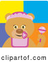 Clip Art of a Grinning Bear Baby Girl Character by Dennis Holmes Designs