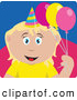 Clip Art of a Grinning Caucasian Birthday Girl Holding Balloons by Dennis Holmes Designs