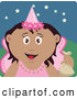 Clip Art of a Grinning Happy Hispanic Tooth Fairy in a Pink Costume, Holding up a Bag by Dennis Holmes Designs