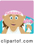 Clip Art of a Grinning Latin American Bride Woman Holding Flowers by Dennis Holmes Designs