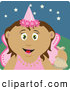 Clip Art of a Grinning Tooth Fairy in Pink, Holding up a Bag by Dennis Holmes Designs
