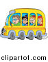 Clip Art of a Group of Happy White School Children and Driver on a Bus by Visekart