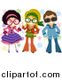 Clip Art of a Group of Kids Dressed up in Retro Outfits by BNP Design Studio
