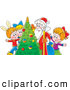 Clip Art of a Group of Smiling Children with Santa Around a Christmas Tree by Alex Bannykh