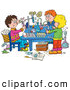 Clip Art of a Group of Three School Children Conducting Science Experiments by Alex Bannykh