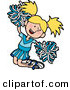 Clip Art of a Happy and Energetic Blond Cheerleader Girl in a Blue Uniform, Jumping with Pom Poms by AtStockIllustration