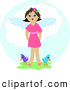 Clip Art of a Happy Angel Girl Standing in Green Grass with Two Birds in Heaven by